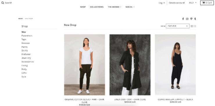 Shopify store for Australian designer clothing brand Tluxe