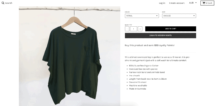 Shopify tips: product details page for australian clothing brand Tluxe's shopify store