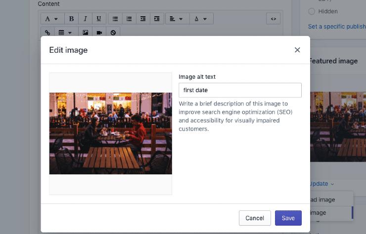 A screenshot of WordPress edit image option