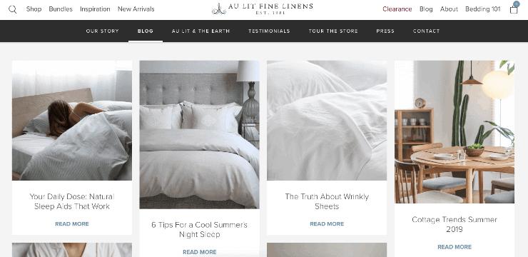 Au Lit Fine Linens' blog section