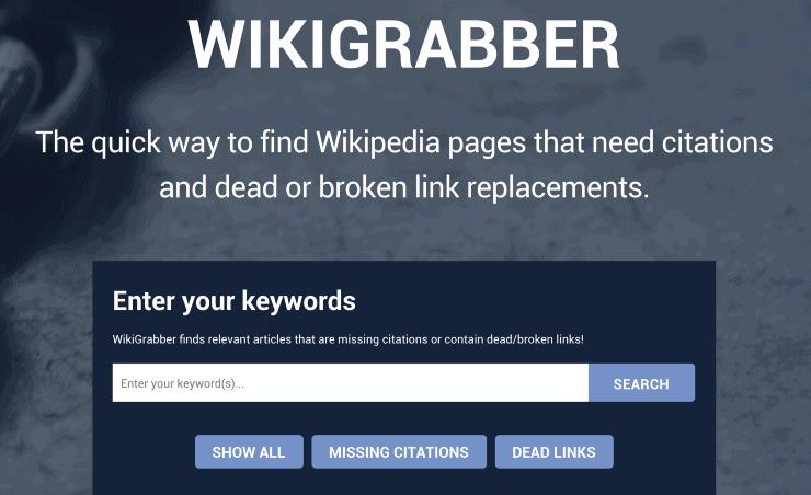 Wikigrabber WIkipedia backlinks organic traffic