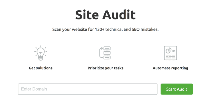 SEMrush Site Audit Landing Page Snippet - Best SEO Audit Tools