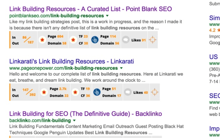 Sample Search Results from Backlinko's Link Miner