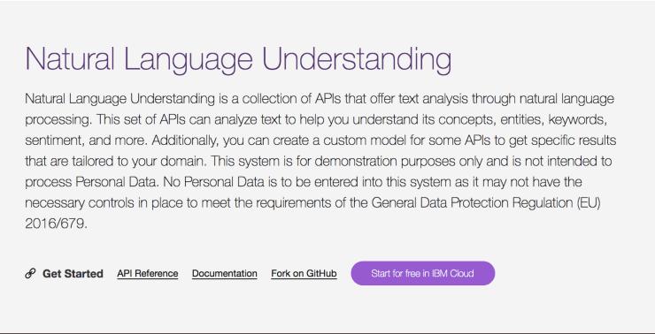 Natural Language Understanding Landing Page Snippet