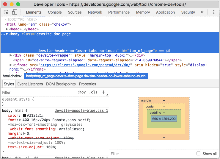 Sample Code from Chrome DevTools
