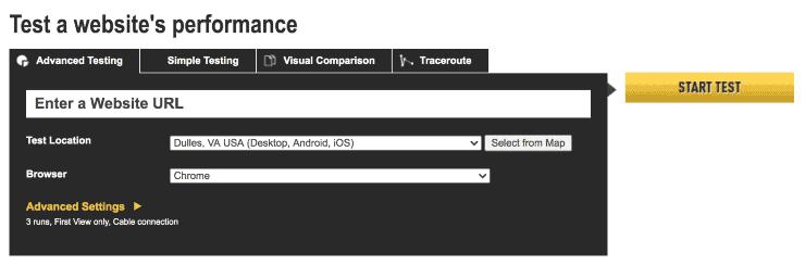 WebPageTest Landing Page Snippet