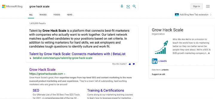 alternative search engines to google - screenshot of bing search results for grow hack scale