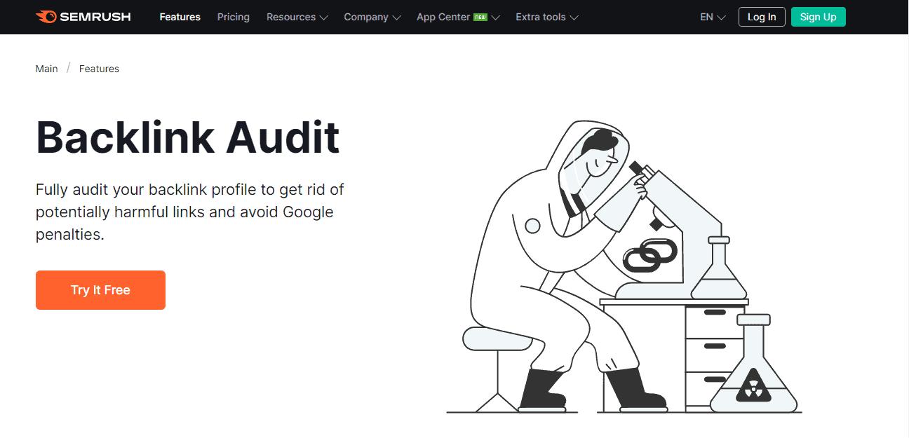 SEMrush Backlink Audit Landing Page - Backlinks