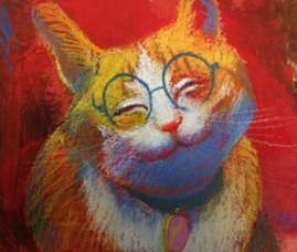 For sale, open edition off center hand-signed prints. A fun series of funny and true cat scenes to make any cat owner laugh. Makes a great gift and easy to frame. Does Leedy know cats? You betcha.