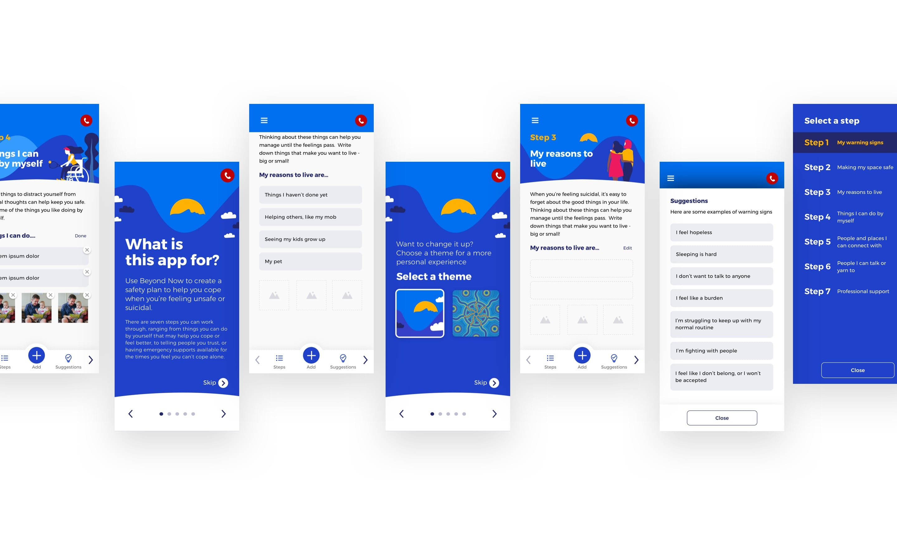 A variety of screens from the app