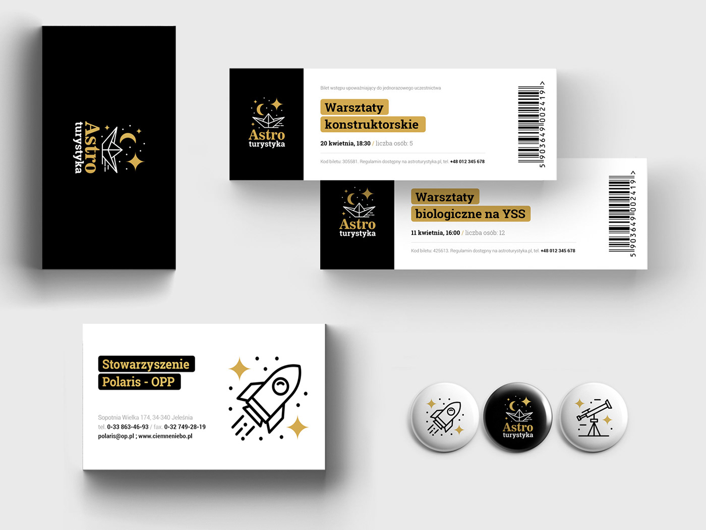 Tickets examples, pins, business card