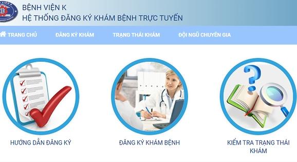 Đặt khám trực tuyến tại Bệnh viện K