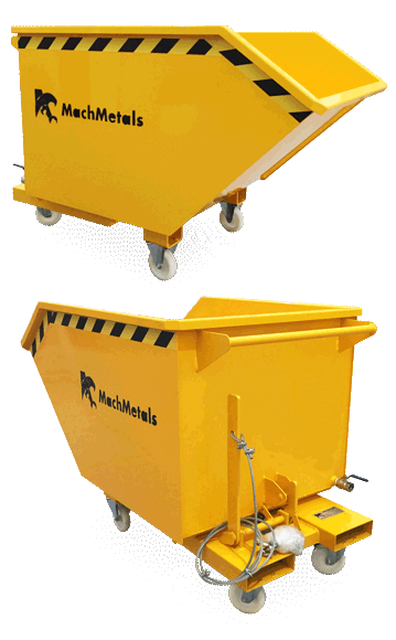 A Caçamba Basculante CE vem com rodízios de nylon reforçados, sistema de dreno e bolsas para garfos de empilhadeira.