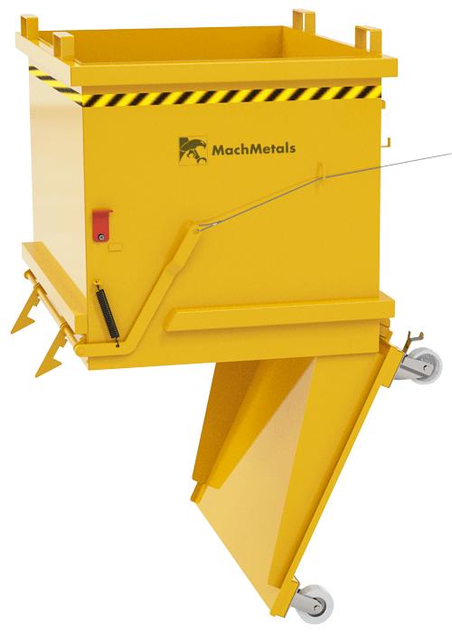 Armazene, transporte e descarte cavacos. Com sistema de abertura à distância, aço reforçado e preparada para empilhadeiras ou talhas. Pronta para uso.