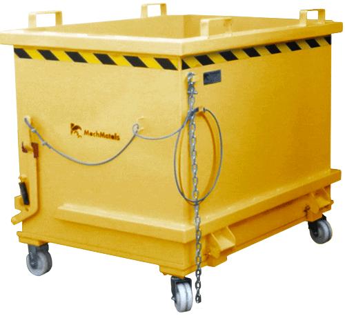 A Caçamba com Fundo Porta CFP vem com rodízios reforçados, cabo de aço e corrente de segurança.