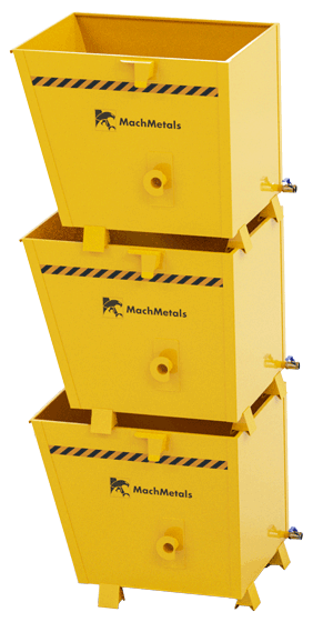 A Caçamba Fixa CX vem com sistema de dreno e pés especiais para empilhamento.
