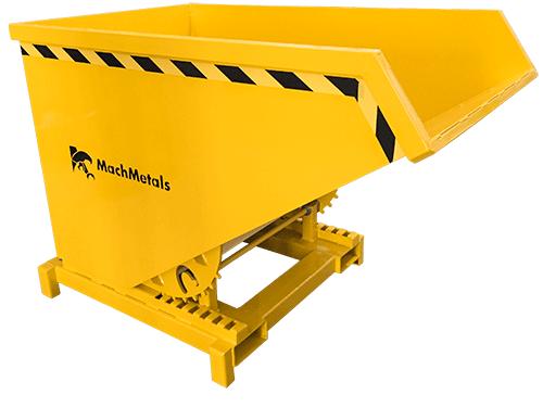 Armazene, transporte e descarte cavacos pesados. Com sistema de basculamento à distância, aço reforçado, dreno, capacidade de 4 toneladas e preparada para empilhadeiras. Pronta para uso.