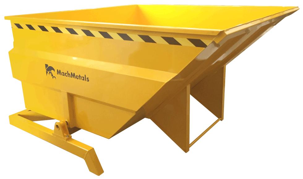 Armazene, transporte e descarte GRANDE volume de cavacos. Com sistema de basculamento à distância, aço reforçado, dreno e preparada para empilhadeiras. Pronta para uso.