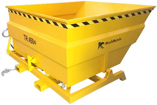 A Caçamba Basculante CG vem com pés fixos reforçados, sistema de dreno e bolsas para garfos de empilhadeira.