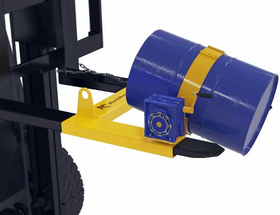 O DGT vem pronto para utilização na empilhadeira, com fácil instalação e remoção. Para não danificar o tambor, utilizamos uma proteção emborrachada na cinta de aço.