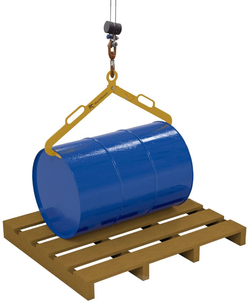 Com formato estrutural e abas desenvolvidas para perfeita acomodação das bordas do tambor a Garra DTH possui força de fechamento com base no peso da carga.