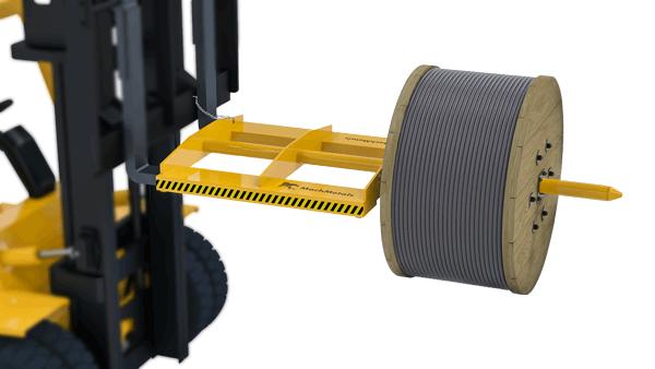 Construído com eixo de aço maciço e corpo com bolsas reforçadas para introdução dos garfos da empilhadeira.