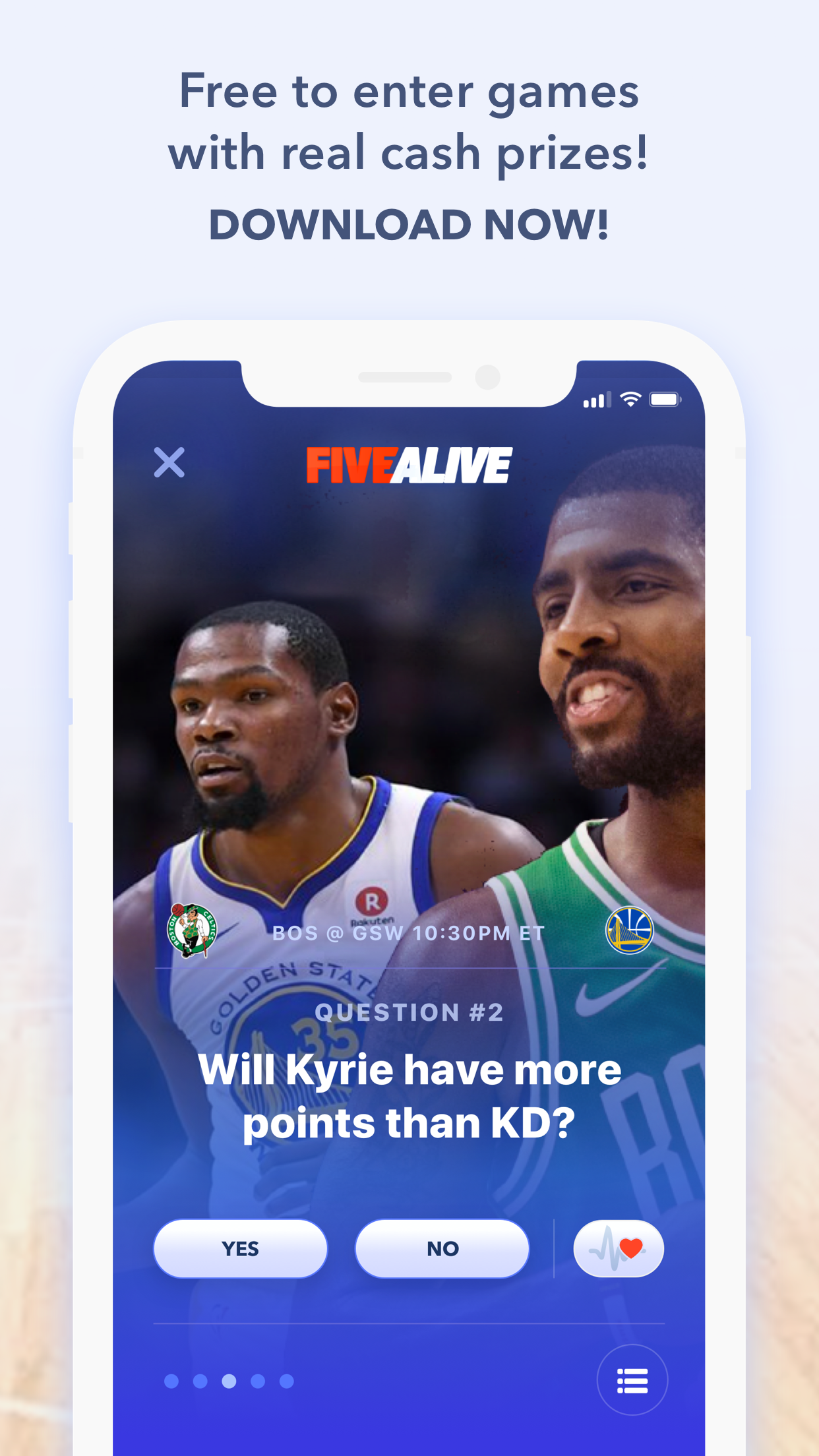 FiveAlive - The ultimate free-to-play sports contest with real cash