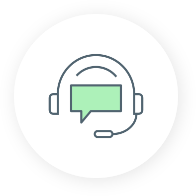 Icon of a headset with a text bubble
