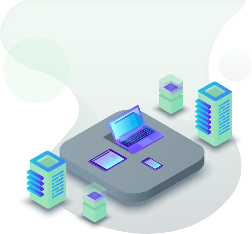 Managed IT Services with laptop, phone, tablet and servers