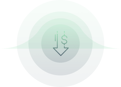 Arrow down with money sign