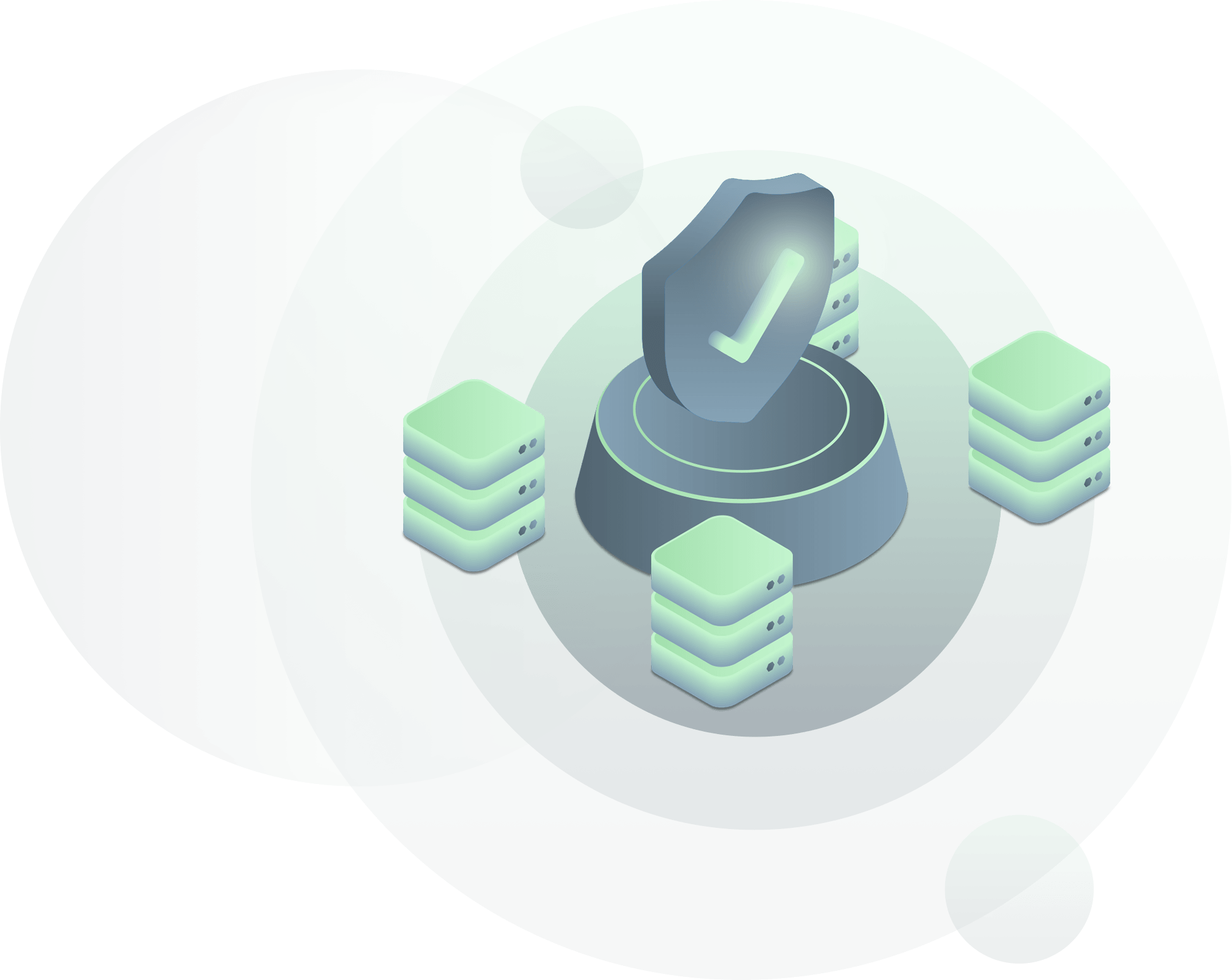 data center illustration with checkmark shield