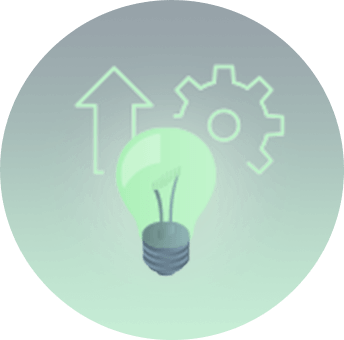 Icon with lightbulb arrow and cog