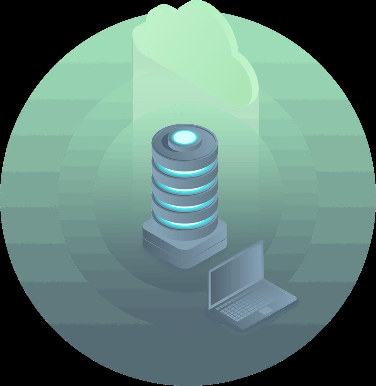 cloud server with laptop illustration