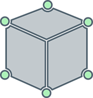 cube illustration with six green dots