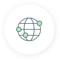 Icon of a globe with green dots