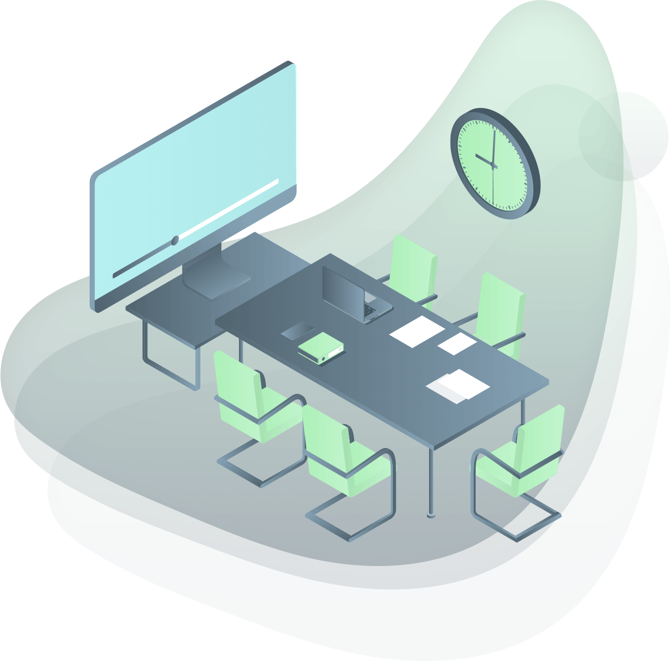 illustration of conference room with a video conference screen
