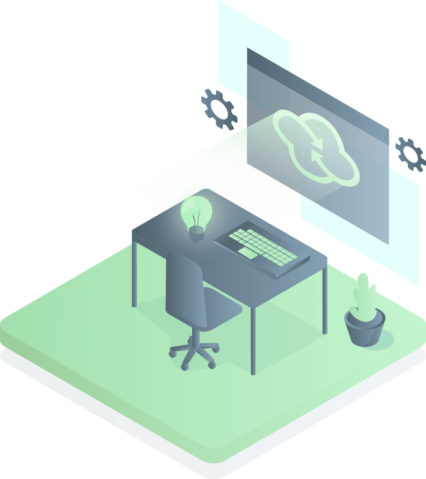 illustration with desk, screen, computer and Verticomm logo