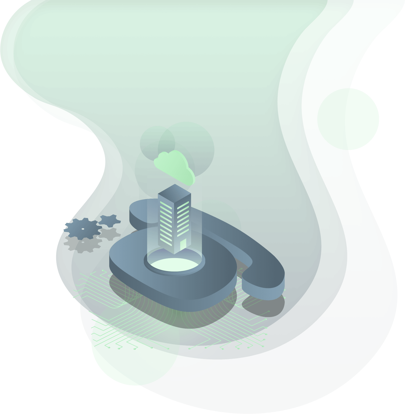 hosted phone system icon with cloud and green background