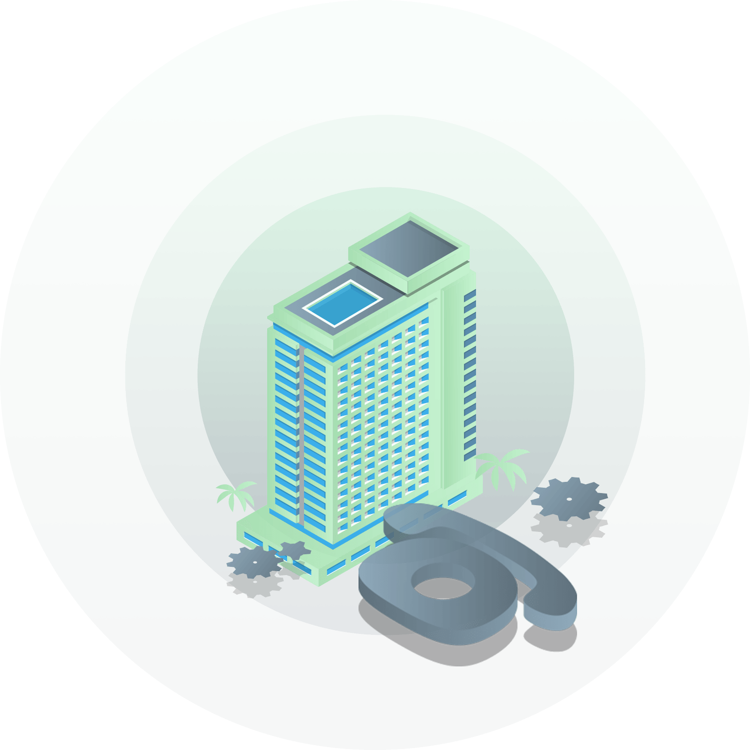 illustration of hotel building with phone system icon