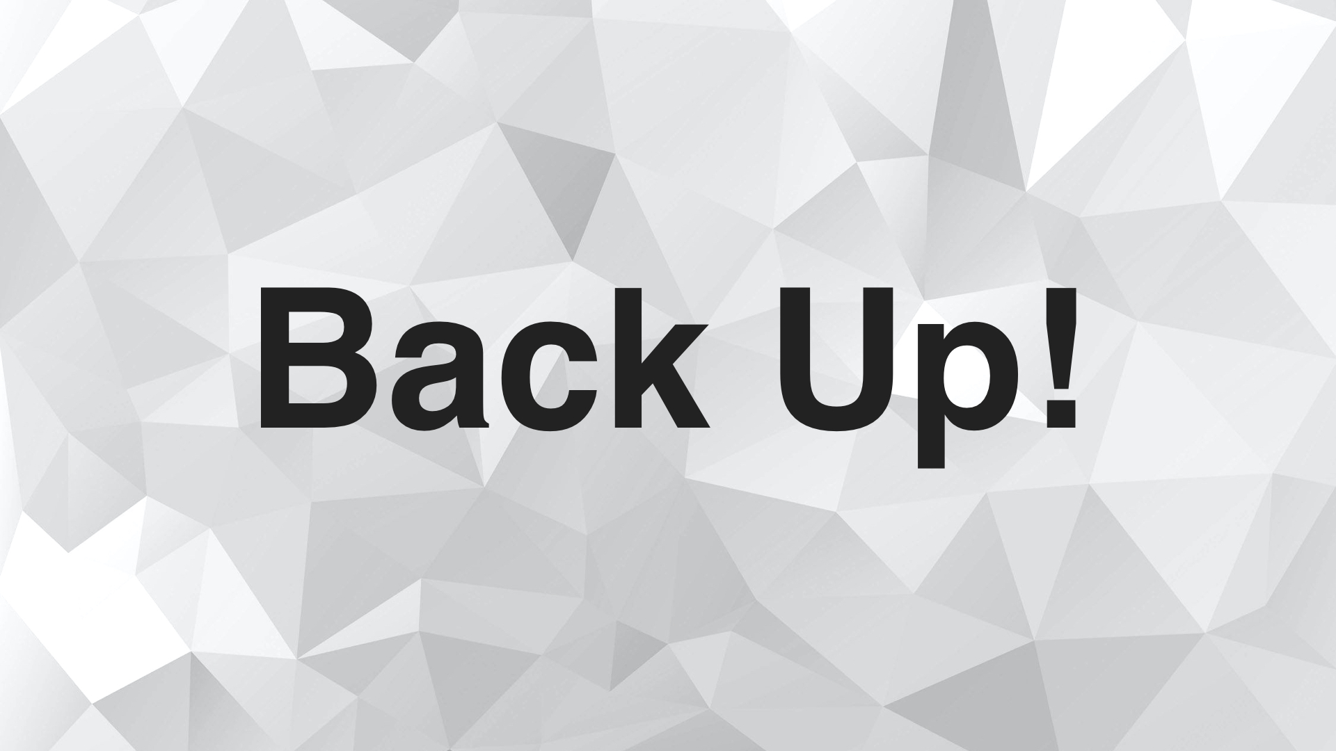 Backing up is not only for your data