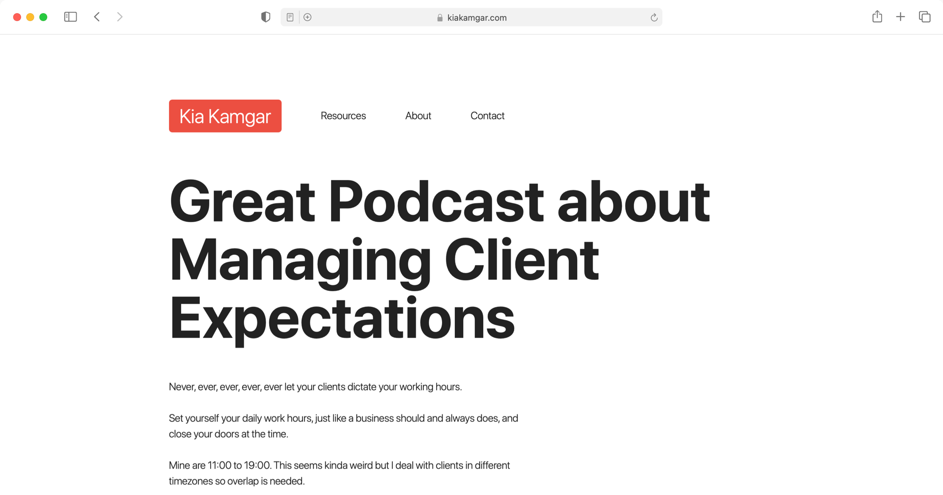 Great Podcast about Managing Client Expectations