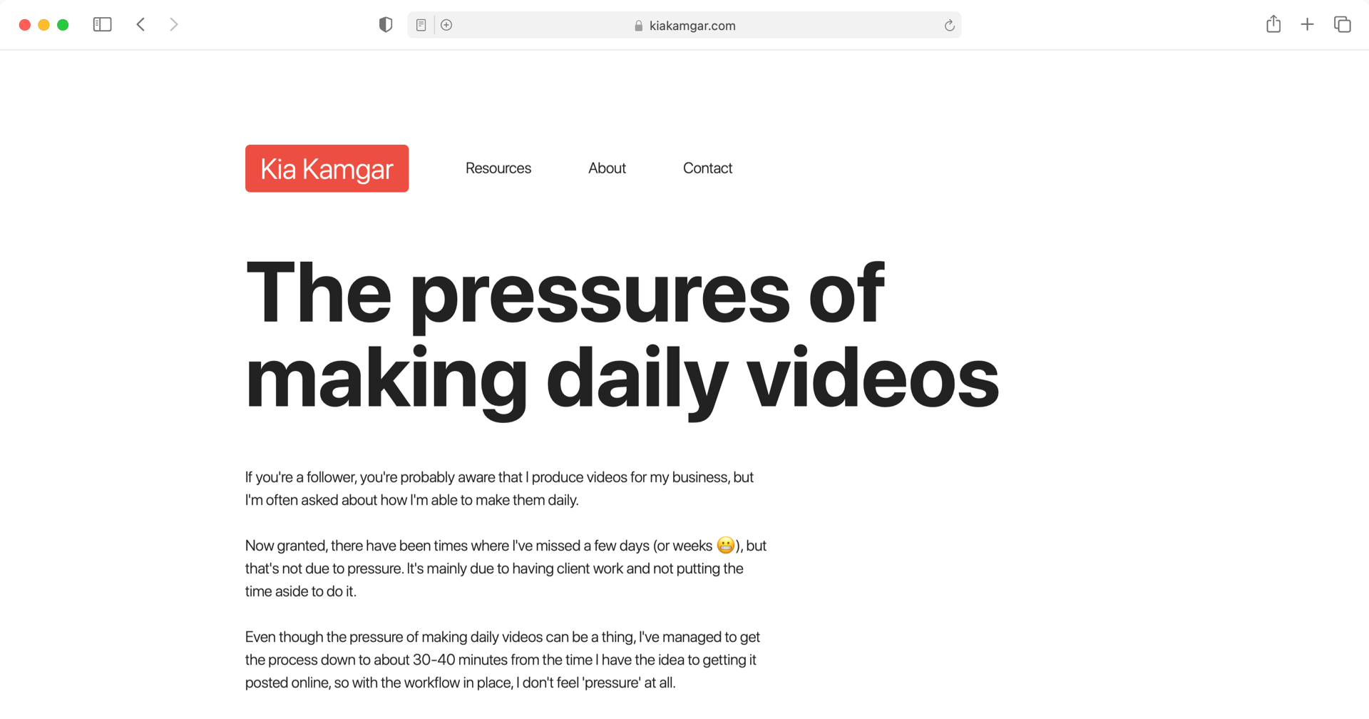 The pressures of making daily videos