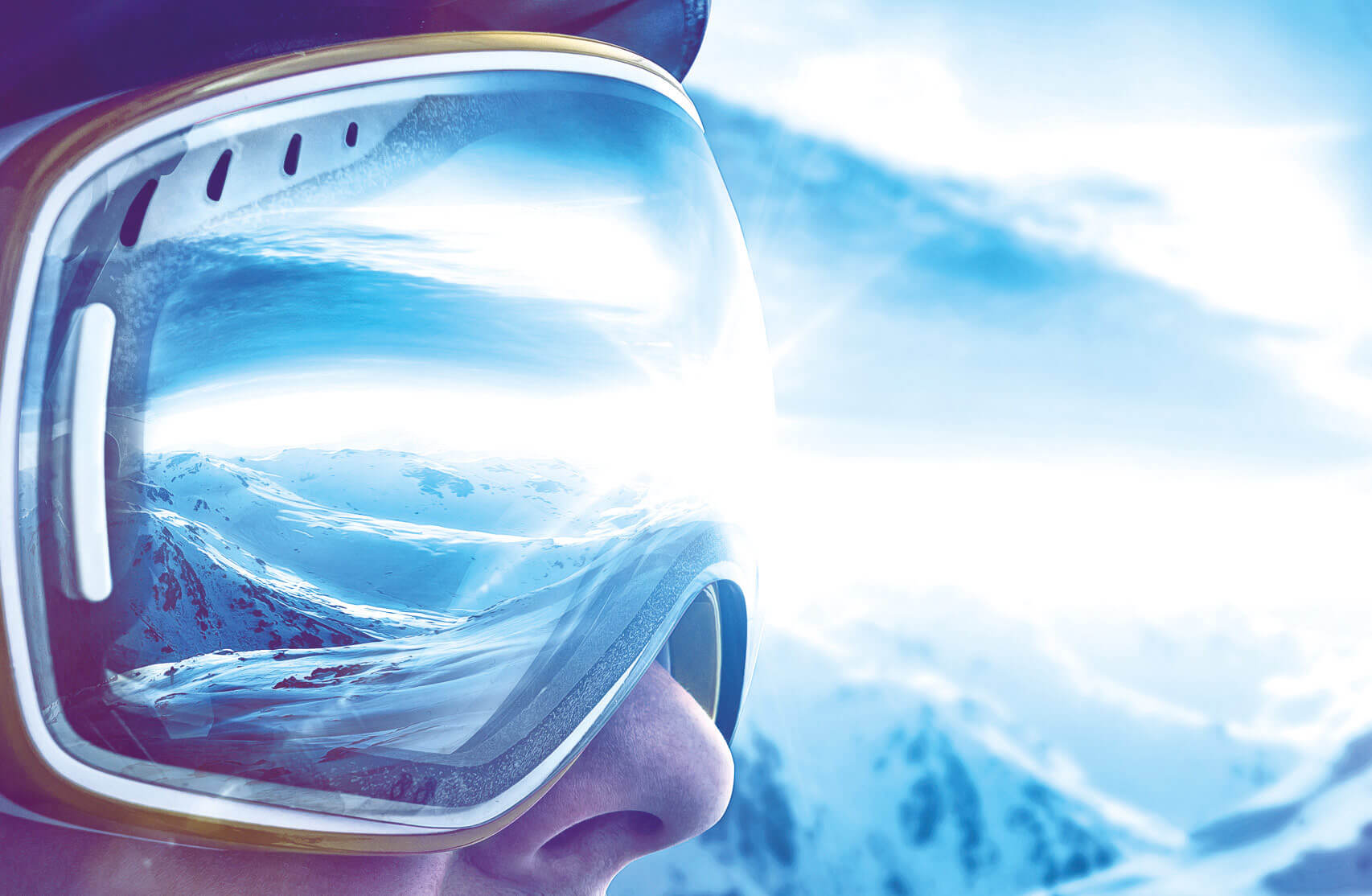 Ski-verleih Ski-verkauf Mann mit Skibrille