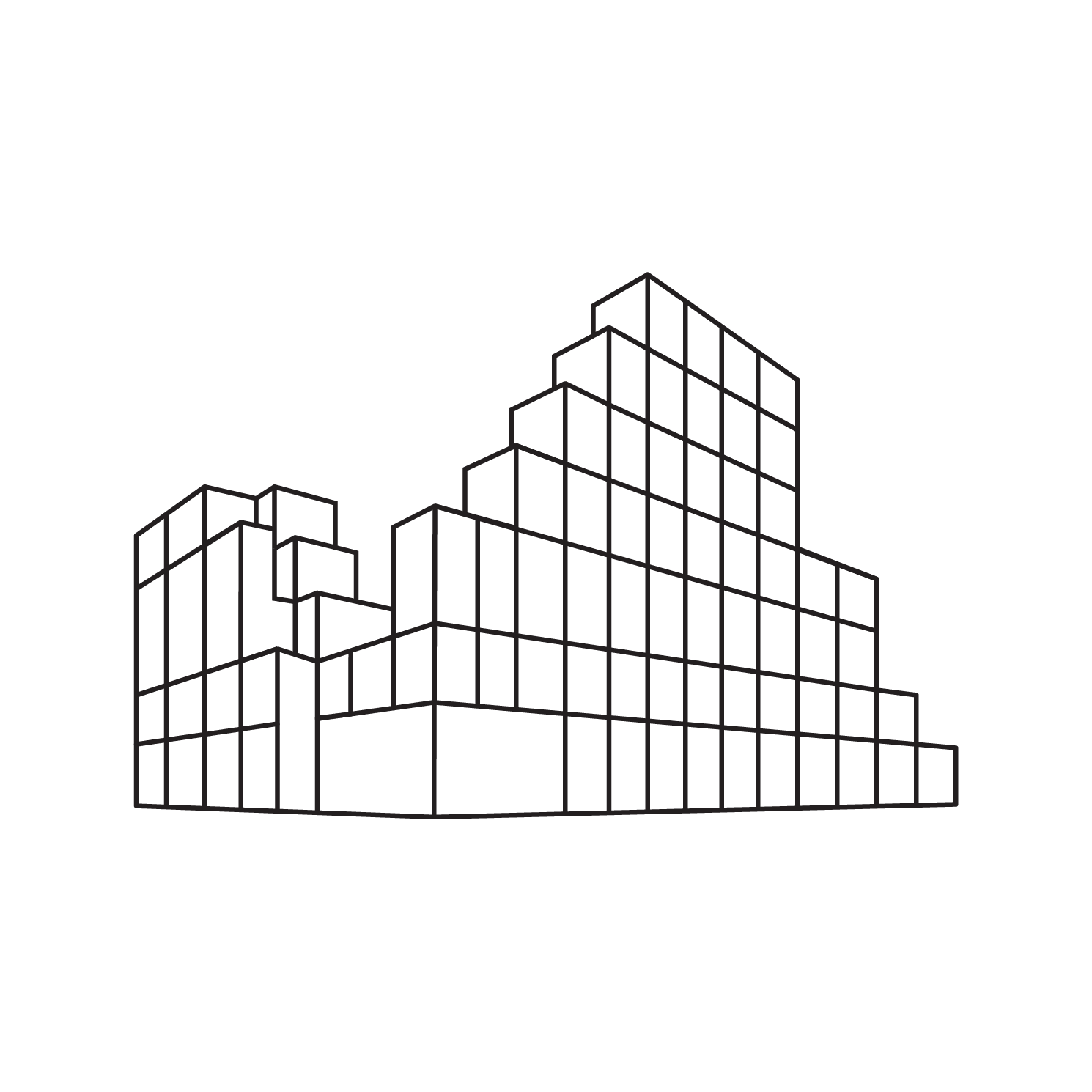 OurDomain Amsterdam South East - White drawing of the building with transparent background