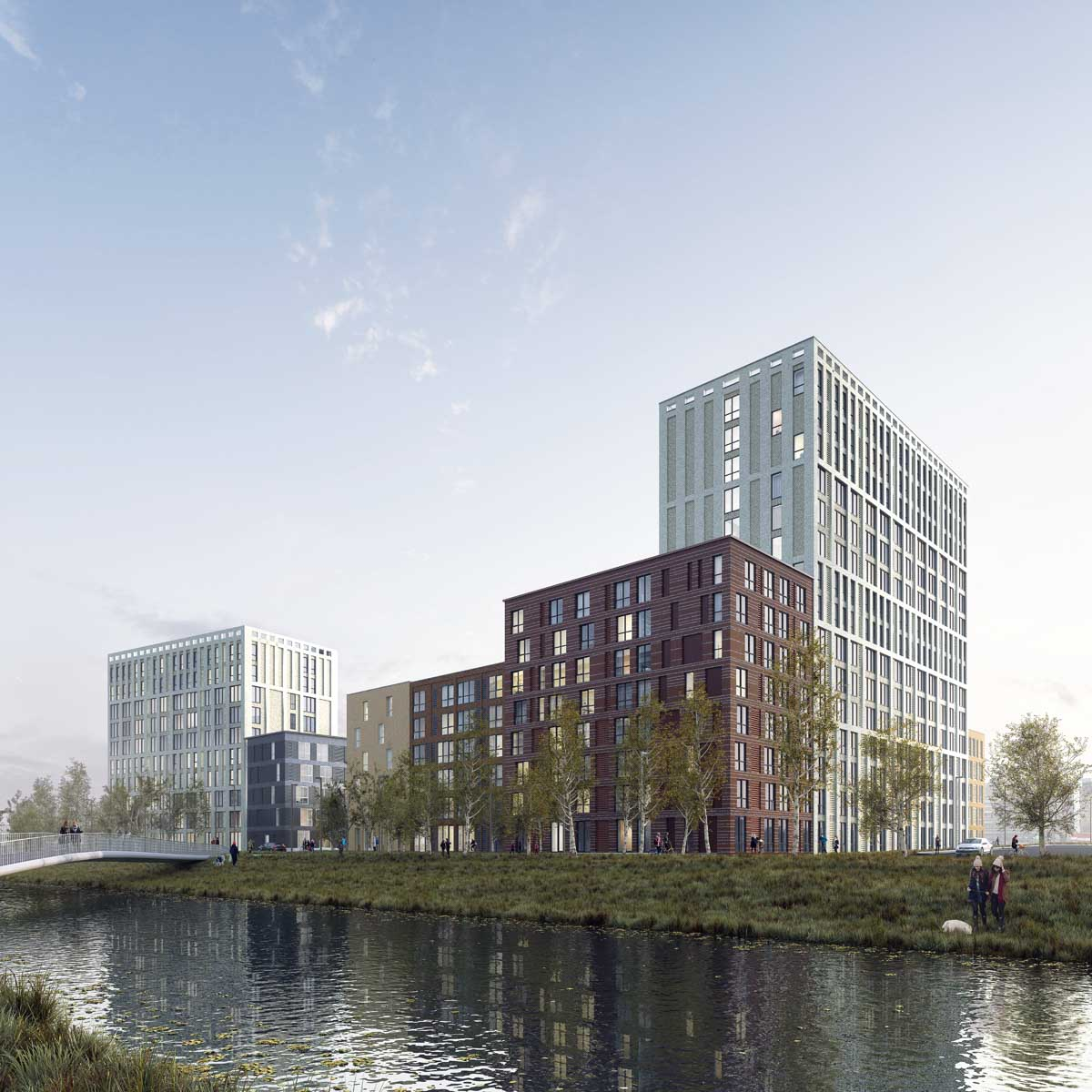 Render of OurDomain Amsterdam Diemen with canal and bridge during the day