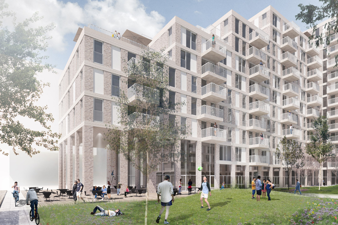 OurDomain Amsterdam South East building render with residents playing in the garden