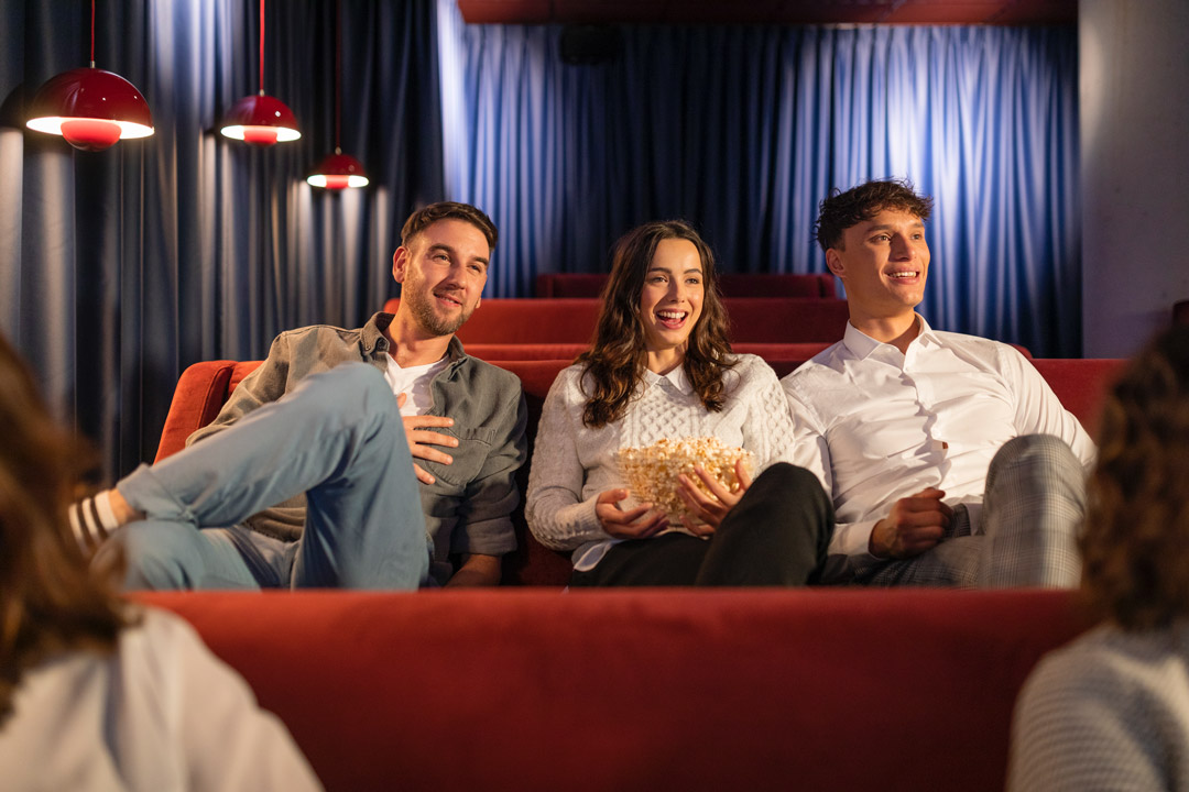 Friends in the cinema room at OurDomain