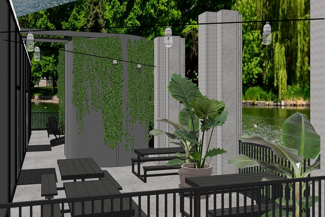 OurDomain Amsterdam South East Render of the terrace with plants