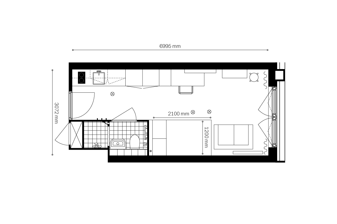 OurDomain Amsterdam South East Apartments 2d floorplans - Standard Studio with white background