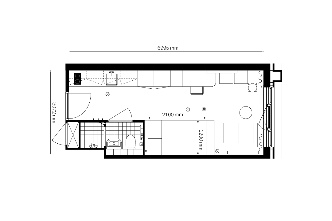 OurDomain Amsterdam South East Apartments 2d floorplans - Superior Studio with white background